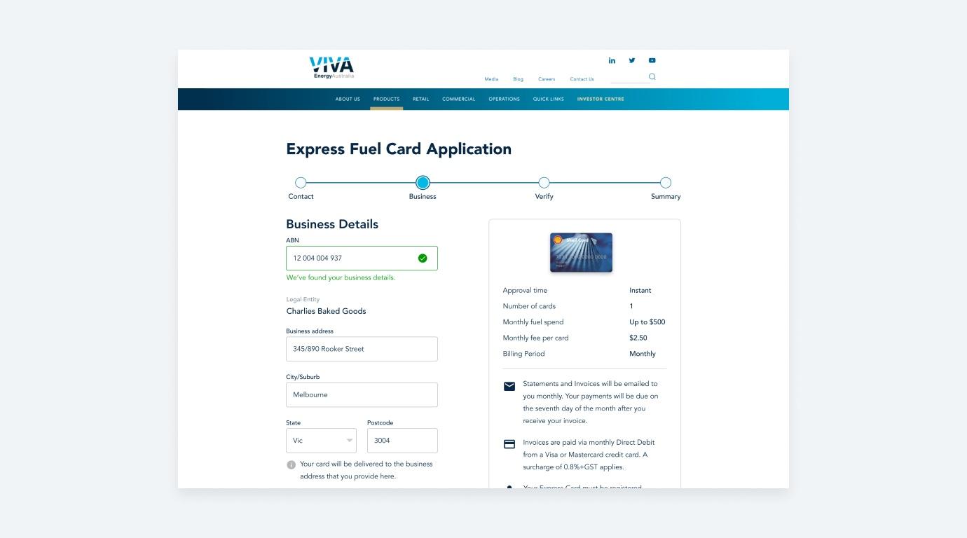 Viva Fuel Card Application